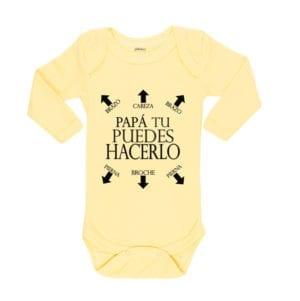Body Pilucho Bebé Calambur 100% algodón diseño Papá Puedes Hacerlo amarillo