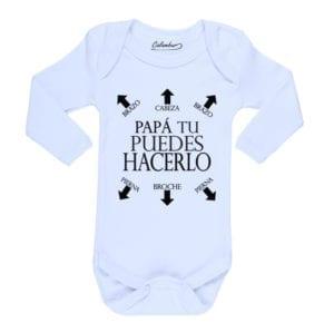 Body Pilucho Bebé Calambur 100% algodón diseño Papá Puedes Hacerlo blanco