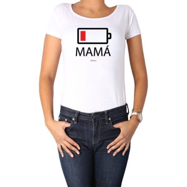 Polera Mujer Calambur 100% algodón diseño Batería blanco