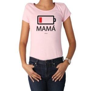Polera Mujer Calambur 100% algodón diseño Batería rosado