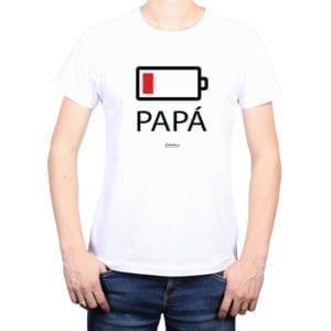 Polera Hombre Calambur 100% algodón diseño Batería blanco