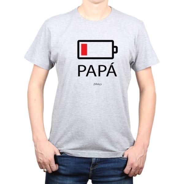 Polera Hombre Calambur 100% algodón diseño Batería gris