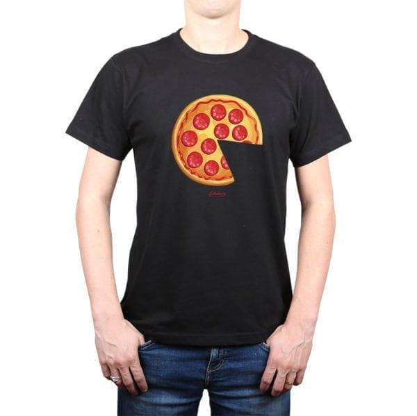 Polera Hombre Calambur 100% algodón diseño Pizza 2 negro