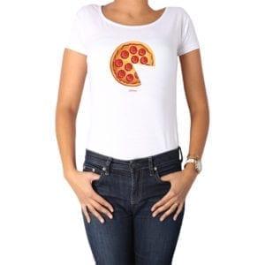 Polera Mujer Calambur 100% algodón diseño Pizza 2 blanco