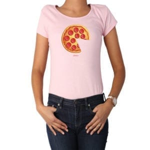 Polera Mujer Calambur 100% algodón diseño Pizza 2 rosado
