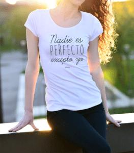 polera mujer diseño nadie es perfecto excepto yo