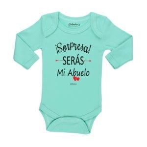 Body Pilucho Bebé Calambur 100% algodón diseño sorpresa serás mi abuelo verde