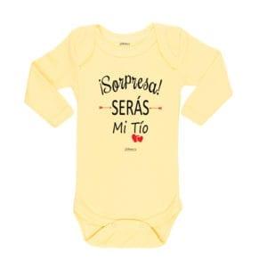 Body Pilucho Bebé Calambur 100% algodón diseño sorpresa serás mi tío amarillo