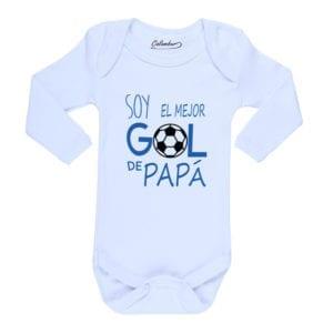Body Pilucho Bebé Calambur 100% algodón diseño Soy el mejor gol de papá blanco