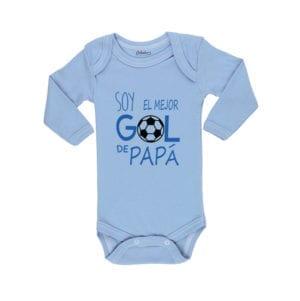 Body Pilucho Bebé Calambur 100% algodón diseño Soy el mejor gol de papá celeste