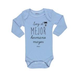 Body Pilucho Bebé Calambur 100% algodón diseño soy el mejor hermano mayor azul