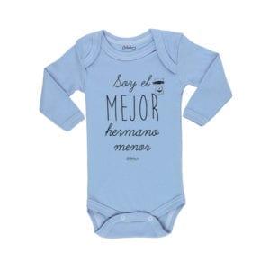 Body Pilucho Bebé Calambur 100% algodón diseño soy el mejor hermano menor azul