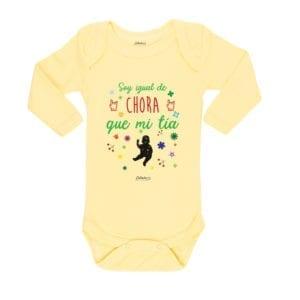 Body Pilucho Bebé Calambur 100% algodón diseño soy igual de chora que mi tía amarillo