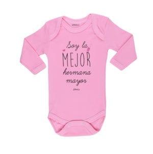 Body Pilucho Bebé Calambur 100% algodón diseño soy la mejor hermana mayor rosado