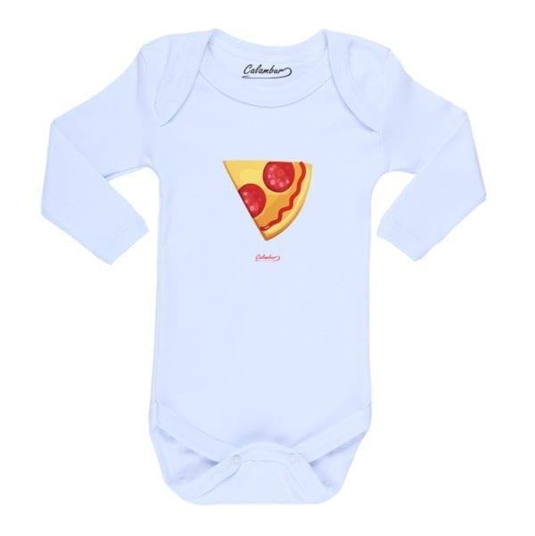 Body Pilucho Bebé Calambur 100% algodón diseño Pizza 2 blanco