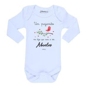 Body Pilucho Bebé Calambur 100% algodón diseño un pajarito me dijo que van a ser abuelos blanco