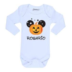 Body Pilucho Bebé Halloween Calambur 100% algodón diseño Zapallo + Nombre blanco