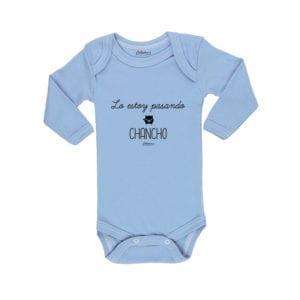 Body Pilucho Bebé Calambur 100% algodón diseño Lo estoy pasando chancho celeste