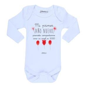 Body Pilucho Bebé Calambur 100% algodón diseño mi primer año nuevo blanco