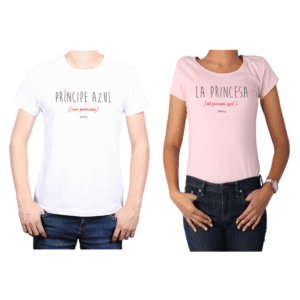 Conjunto Pareja Hombre Mujer 100% algodón Calambur diseño Príncipe Princesa