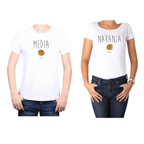 Conjunto Pareja Hombre Mujer 100% algodón Calambur diseño Media Naranja