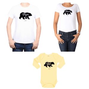 Conjunto Familia Papá Mamá Bebé 100% algodón Calambur diseño Oso