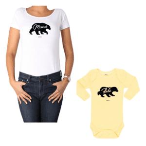 Conjunto Mamá Bebé 100% algodón Calambur diseño Oso