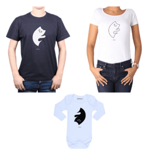 Conjunto Familia Papá Mamá Bebé 100% algodón Calambur diseño Yin Yang