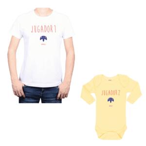 Conjunto Papá Bebé 100% algodón Calambur diseño Jugador 1 Jugador 2