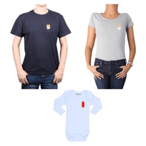 Conjunto familiar Papá Mamá Bebé 100% algodón Calambur diseño Papas Ketchup