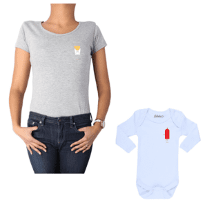 Conjunto Mamá Bebé 100% algodón Calambur diseño Papas Ketchup