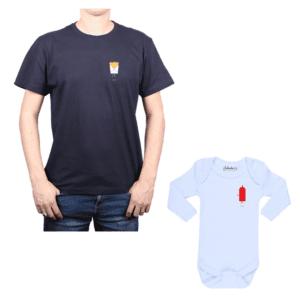 Conjunto familiar Papá Bebé 100% algodón Calambur diseño Papas Ketchup