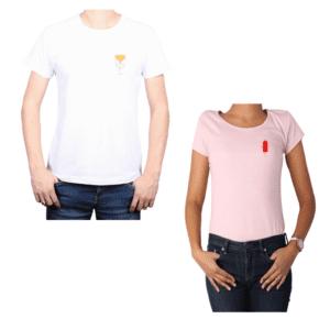 Conjunto pareja Hombre y Mujer 100% algodón Calambur diseño Papas Ketchup