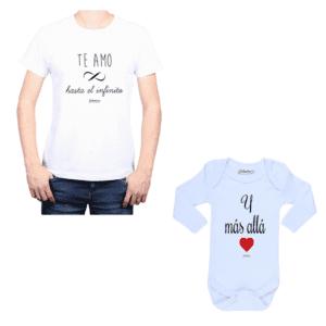 Conjunto Papá Bebé 100% algodón Calambur diseño Te amo hasta el infinito