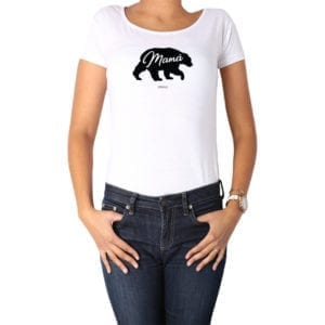 Polera Mujer Calambur 100% algodón diseño Oso Mamá blanco