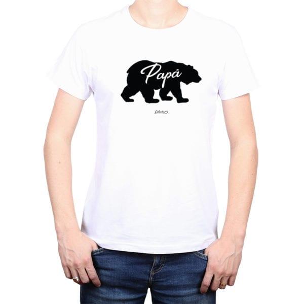 Polera Hombre Calambur 100% algodón diseño Oso Papá blanco