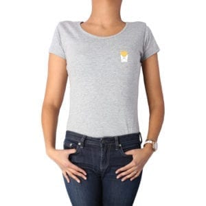 Polera mujer Calambur 100% algodón diseño Papas gris