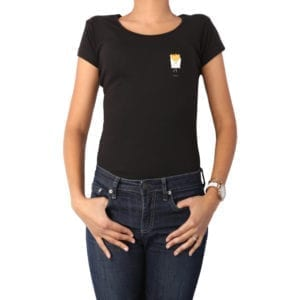 Polera mujer Calambur 100% algodón diseño Papas negro