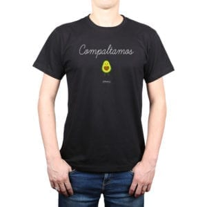 Polera Hombre Calambur 100% algodón diseño Compaltamos negro
