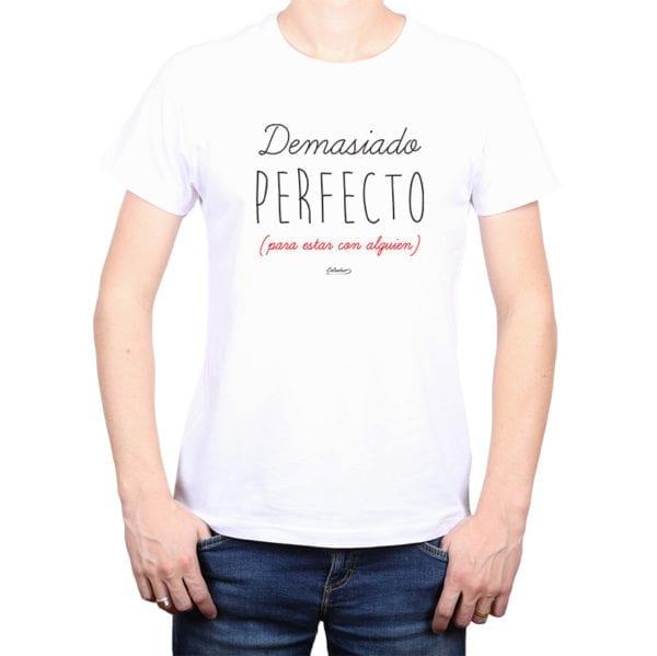 Polera Hombre Calambur 100% algodón diseño Demasiado Perfecto blanco