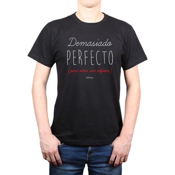 Polera Hombre Calambur 100% algodón diseño Demasiado Perfecto negro