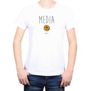 Polera Hombre Calambur 100% algodón diseño Media blanco
