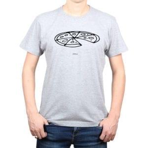 Polera Hombre Calambur 100% algodón diseño Pizza gris