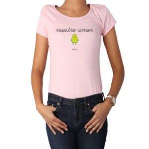 Polera Mujer Calambur 100% algodón diseño Nuestro amor rosado