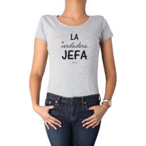 Polera Mujer Calambur 100% algodón diseño La Verdadera Jefa gris
