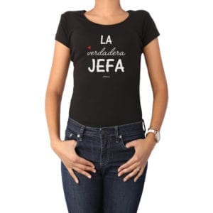 Polera Mujer Calambur 100% algodón diseño La verdadera jefa negro