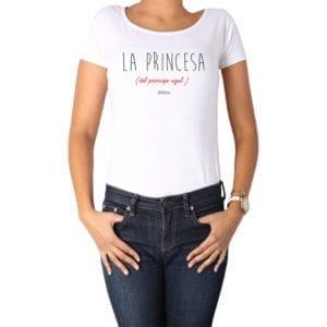 Polera Mujer Calambur 100% algodón diseño La Princesa Azul blanco