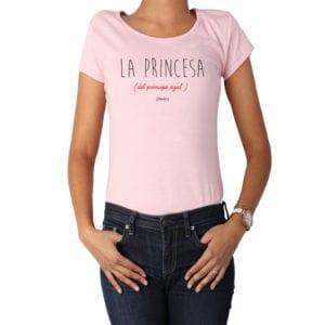 Polera Mujer Calambur 100% algodón diseño La Princesa rosado