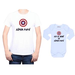 Conjunto estilo Captain America Polera y Body Calambur 100% algodón modelo Súper Papá Súper Bebé