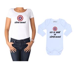 Conjunto estilo Captain America Polera y Body Calambur 100% algodón modelo Súper Mamá Súper Bebé